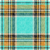 Cooler Stewart plaid in Turquoise, Mustard + Orange Linen-weave by Su_G