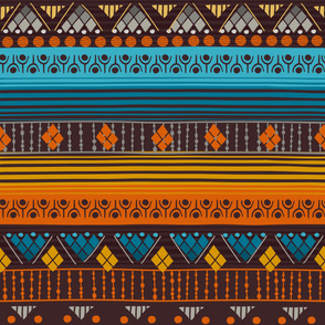Tribal Mandala Orange Blue Brown