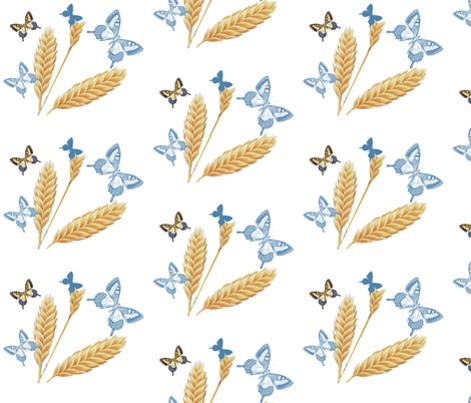 Golden Wheat & Blue Butterflies