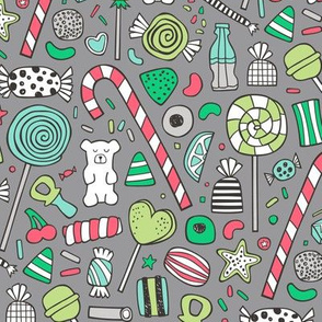 Candy Sweets Sugar Junk Food Christmas Colours Edition on Grey