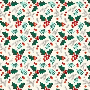 Christmas holly and berries on creme (small)