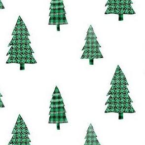 Plaid Green Winter Trees