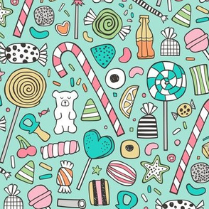 Candy Sweets Sugar Junk Food Black & White Multi Colour on Mint Green