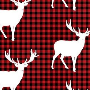 Deer against a Red and Black Plaid Print