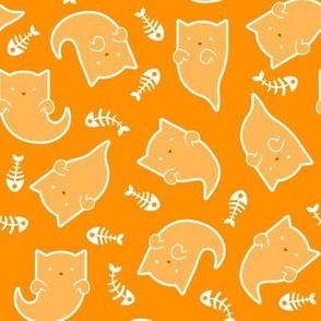 Phantom Felines - White Ghosts on Orange