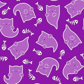 Phantom Felines - White Ghosts on Purple