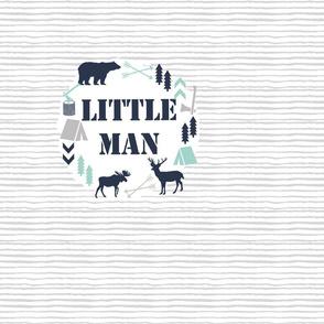 little man blanket  boys nursery baby grey mint blue