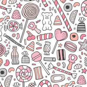 Candy Sweets Sugar Junk Food Black & White Pink