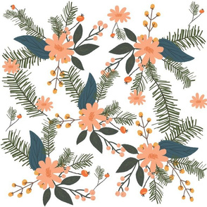 Winter Floral on White