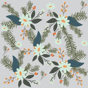 Winter Floral Mint and Grey
