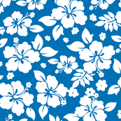 Hawaiian Flower Hisbiscus Pattern Blue and White Tropical Lulau