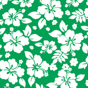 Hawaiian Flower Hisbiscus Pattern Green and White Tropical Lulau