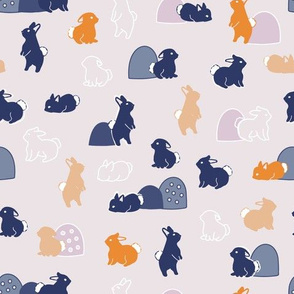bunnies pink and blue
