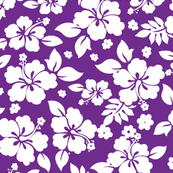 Hawaiian Flower Hisbiscus Pattern Purple and White Tropical Lulau