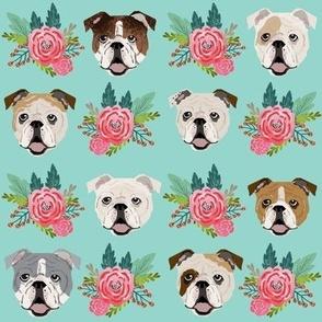 english bulldog faces cute florals flowers english bulldog fabrics cute florals mint and pink english bulldog fabric
