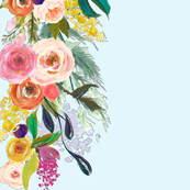 Autumn Blooms Painted Floral Border // Sky Blue