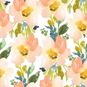 Portadown Peach Row Watercolor Flower Pattern