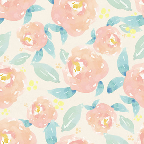 Watercolor Peach Peony Pattern With Mint