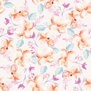 Sienna Orange Watercolor Floral Pattern