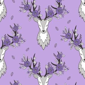 Deer Head with flowers in Purple