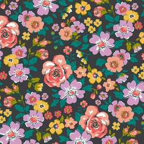 Ditsy Flowers Floral Fall Peach Purple on Black