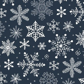 Snowflakes Christmas on Navy Blue