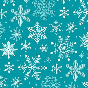Snowflakes Winter Christmas on Blue