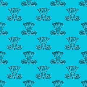 Egyptian Lotus (blue on blue)