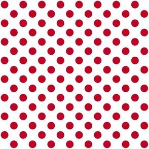 White + Polka Red dots