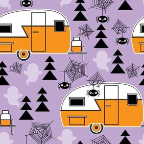 Halloween trailers on purple