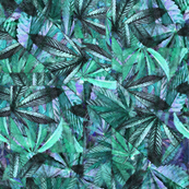 Abstract Blue Green Pot Leaves