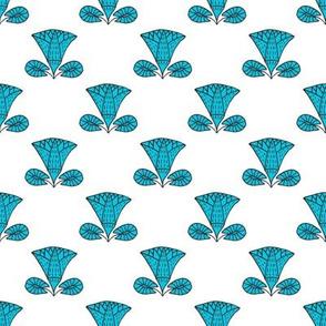 Egyptian Lotus (blue on white)