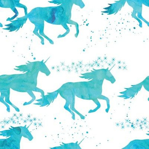 watercolor unicorns || aqua