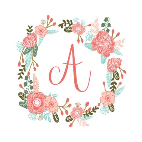 A monogram girls sweet florals flowers flower wreath girls ...