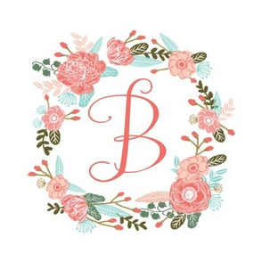 "B monogram girls sweet florals flowers flower wreath girls monogram pillow fabric swatch design mini 8"" swatch size  personalized personal letter quilt fabric cute girls design"