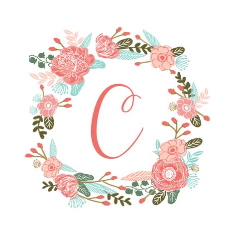C monogram girls sweet florals flowers flower wreath girls ...