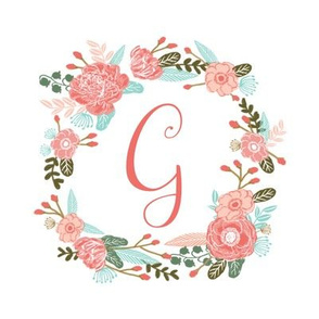 "G monogram girls sweet florals flowers flower wreath girls monogram pillow fabric swatch design mini 8"" swatch size  personalized personal letter quilt fabric cute girls design"