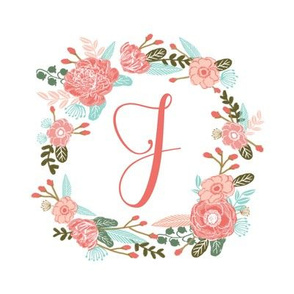 "J monogram girls sweet florals flowers flower wreath girls monogram pillow fabric swatch design mini 8"" swatch size  personalized personal letter quilt fabric cute girls design"