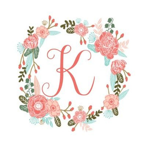 "K monogram girls sweet florals flowers flower wreath girls monogram pillow fabric swatch design mini 8"" swatch size  personalized personal letter quilt fabric cute girls design"