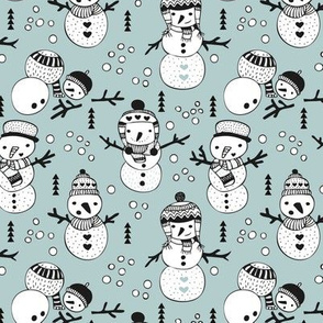 Cute winter snowman sweet snow woodland design with snow puppet in black and white and ice blue