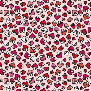 Super cool mushroom forest design fall autumn illustration red and pink