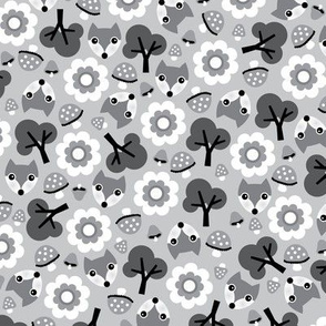 Baby fox fall pattern cute tossed woodland design for fall and winter gray black and white