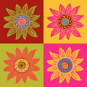 Sunflower Linocut Blocks - Bright Colorway