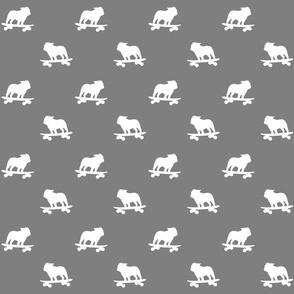 Skateboarding Bulldog Silhouettes Pattern