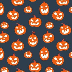 Halloween Jack O lanterns on dark gray