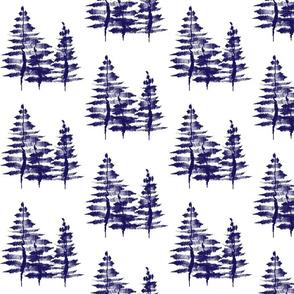 Ink Sketch Trees / Navy Blue