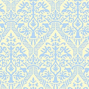 crowning damask stencil yellow