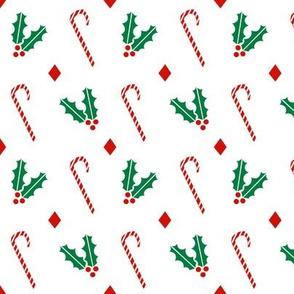 candy canes and holly basic christmas design xmas holiday christmas fabrics