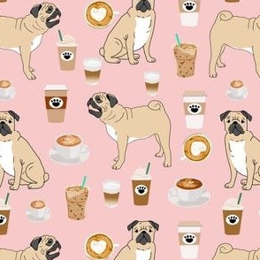 pugs and coffee cute pink fabric cute coffee latte fabric pug dogs dog breed fabric