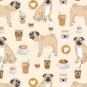 pugs and coffee fabric cute coffee latte fabric pug dog fabric cute pet lovers fabric